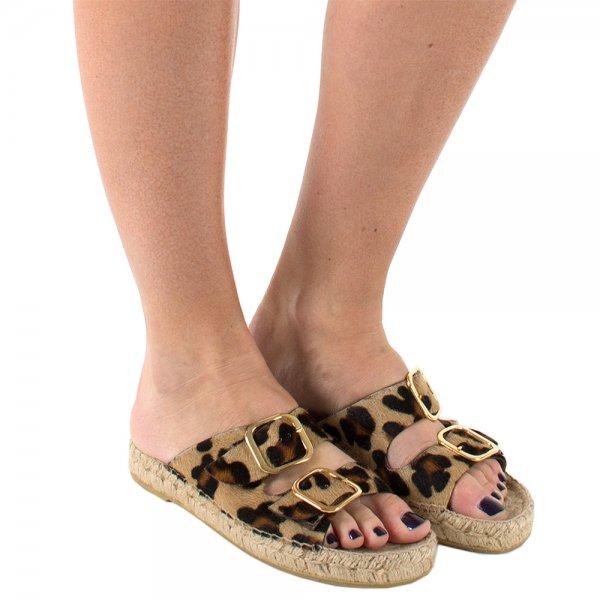e1ccfed49bc9 Daniel Tosda Leopard print Womens Flat Sandal