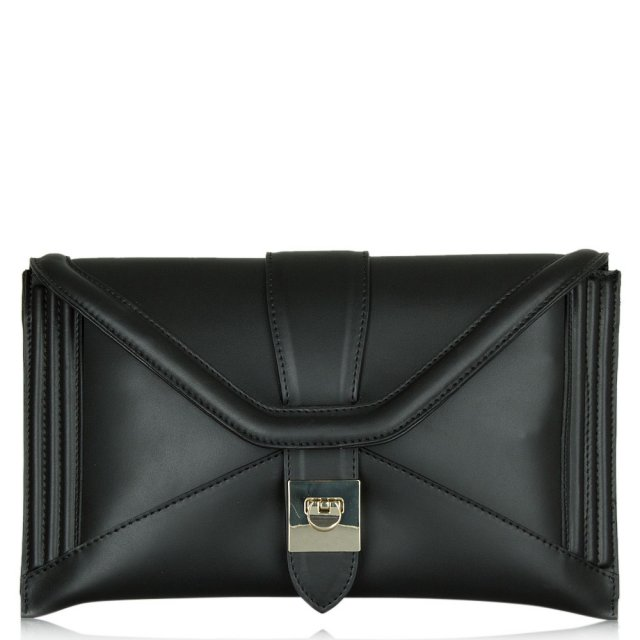 Daniella Black Leather Envelope Clutch
