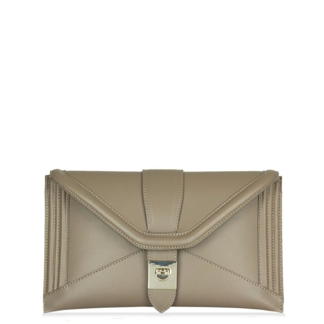 Daniella Taupe Leather Envelope Clutch