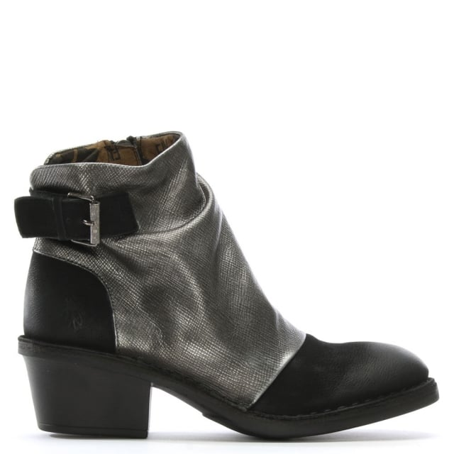 Dape Black Leather Rouched Ankle Boots
