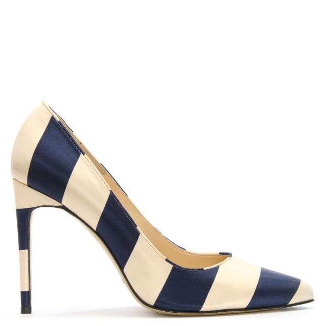 Daphne Blue & Nude Satin Striped Court Shoe
