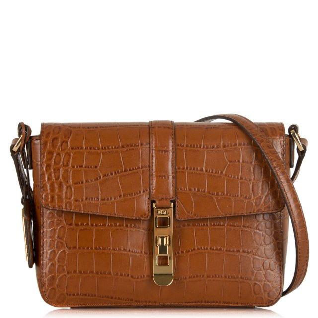 81d6a618d7 Lauren By Ralph Lauren Darwin Croc Brown Leather Cross-Body Bag