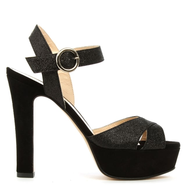 Dasher Black Metallic Platform Sandal