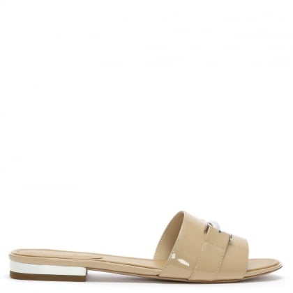 Davan Beige Patent Leather Mules