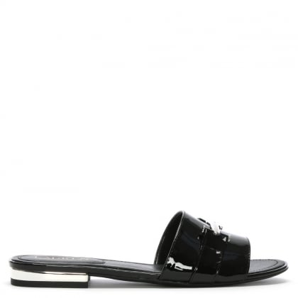 Davan Black Patent Leather Mules
