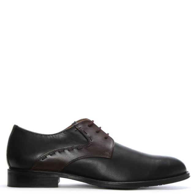 David Burgundy Contrast Leather Lace Up Shoes
