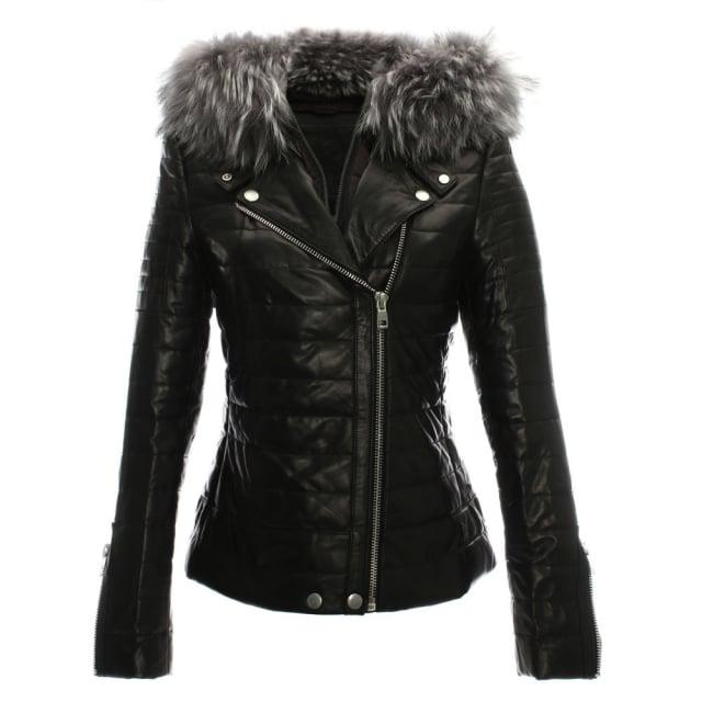 R Paris Davy Quilted Leather Fur Trim Biker Jacket