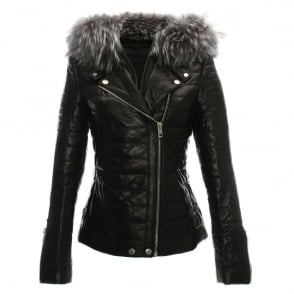 619986200d882 R Paris Black Leather Grey Fur Trim Biker Jacket