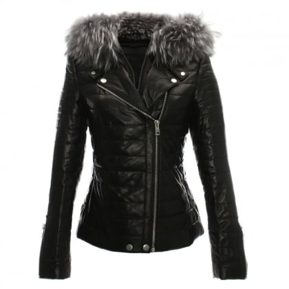 Davy Quilted Leather Fur Trim Biker Jacket