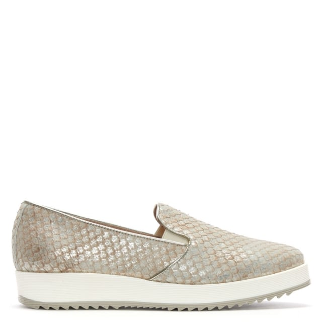Dawton Gold Leather Textured Reptile Pumps