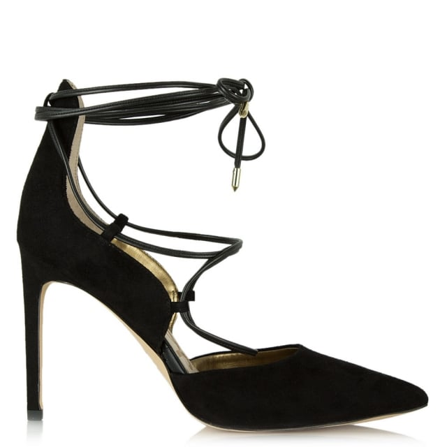 bc985c261910 Sam Edelman Dayna Black Suede Lace Up Court Shoe