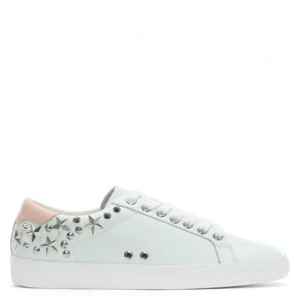 Dazed II White Leather Pink Tab Embellished Trainers