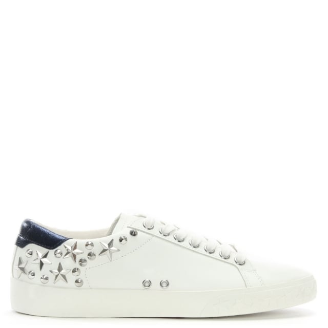 Dazed White/Navy Leather Embellished Trainer