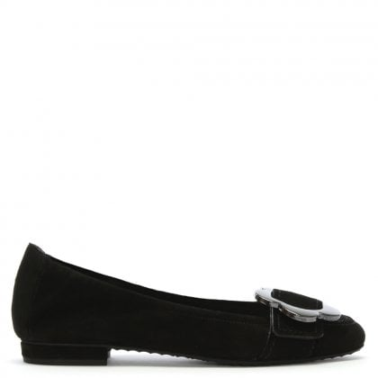 Dean Black Suede Flower Ballet Pumps