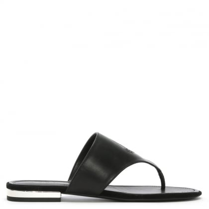 Deandra Black Leather Toe Post Sandals