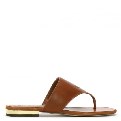 Deandra Tan Leather Toe Post Sandals
