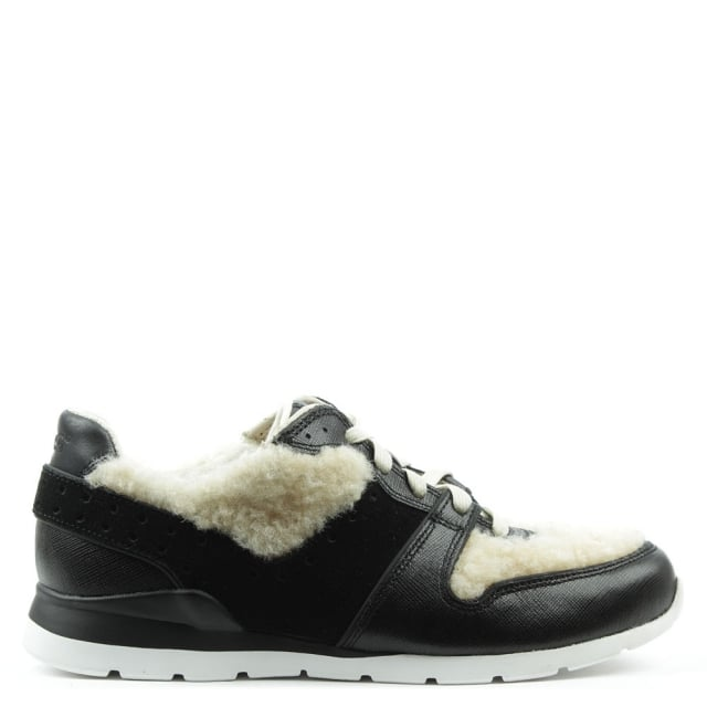 Deaven Black Leather & Sherling Lace Up Trainer