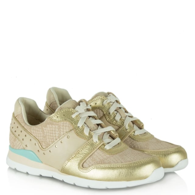 Deaven Gold Leather Lace Up Trainer