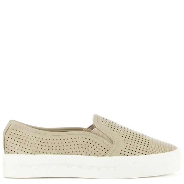 Dechmont Taupe Faux Leather Sporty Trapezaki Perforated Pump