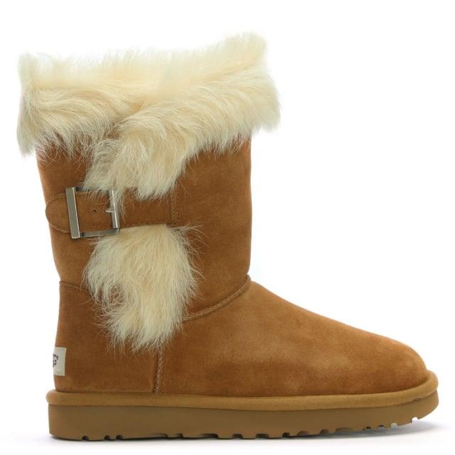 Deena Chestnut Suede & Toscana Sheepskin Ankle Boots