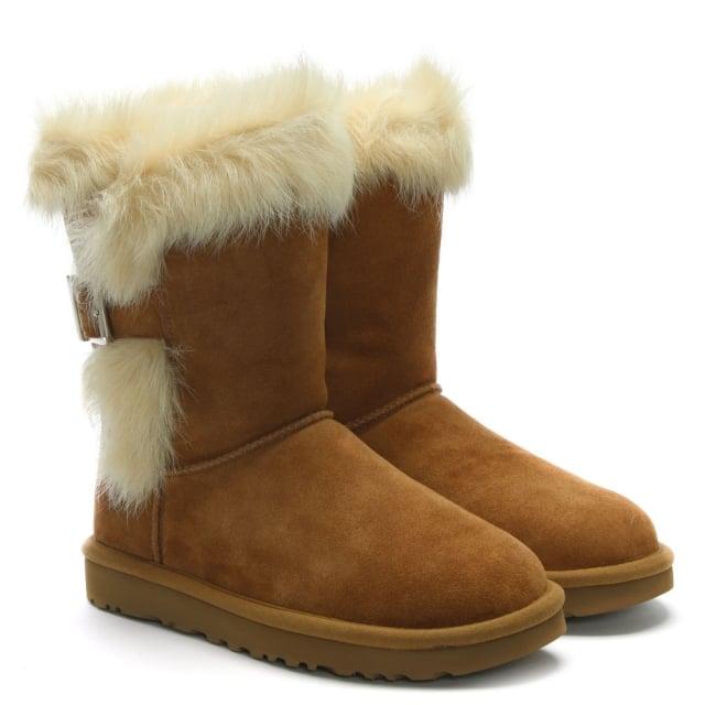 05903b420ac Deena Chestnut Suede & Toscana Sheepskin Ankle Boots