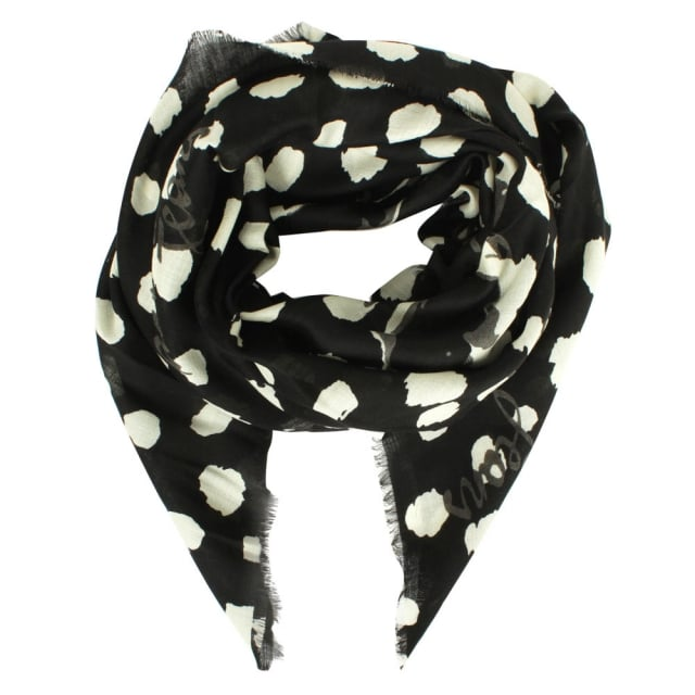 Deer Spot Black Wool Scarf