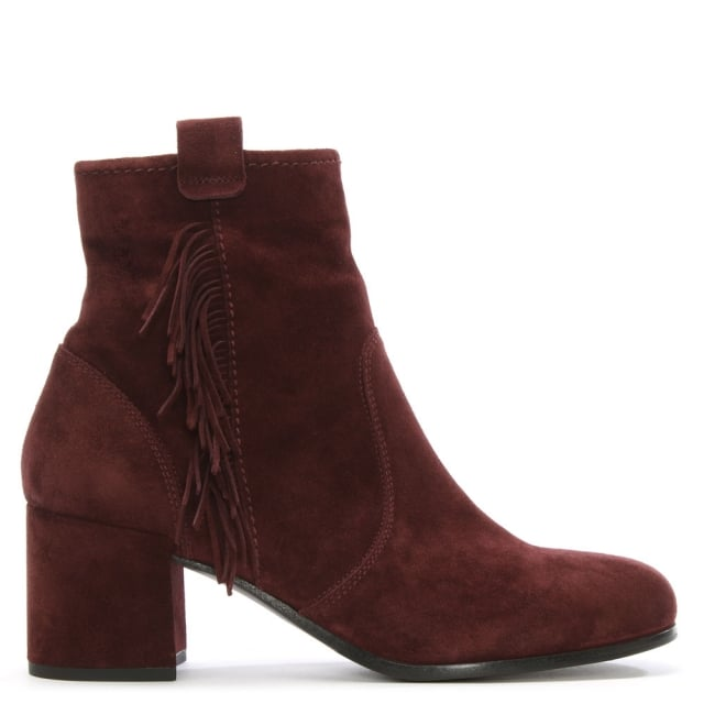 Defoe Burgundy Suede Fringed Ankle Boot