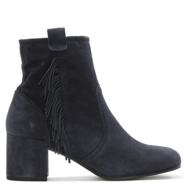 Defoe Navy Suede Fringed Ankle Boot