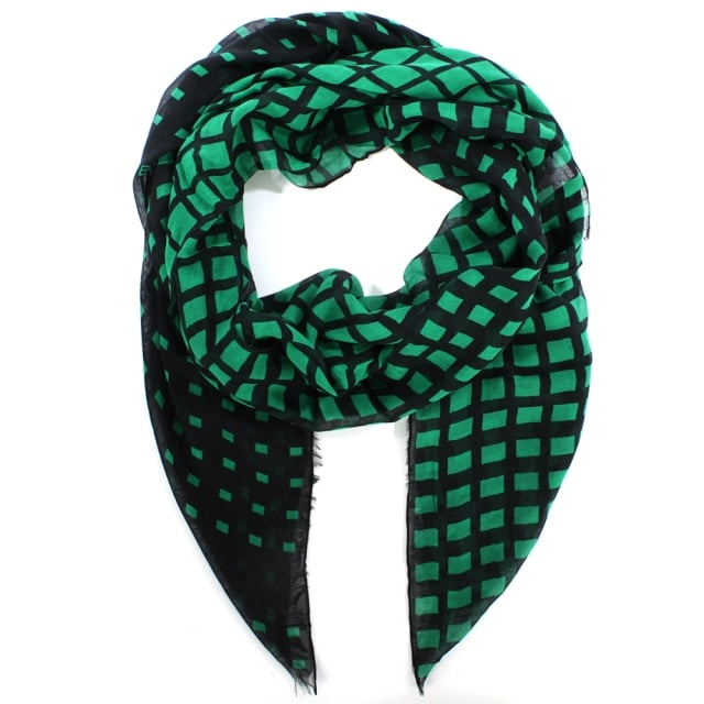 Degrade Check Green Wool Oblong Scarf