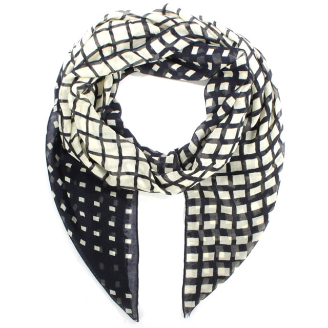 Degrade Check Navy Wool Oblong Scarf