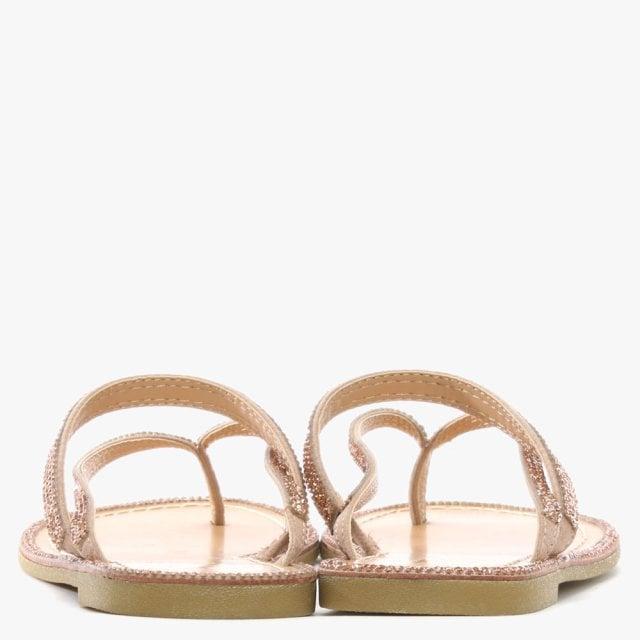 6282935bd7e9 DF By Daniel Delevingne Pink Diamante Toe Post Sandal