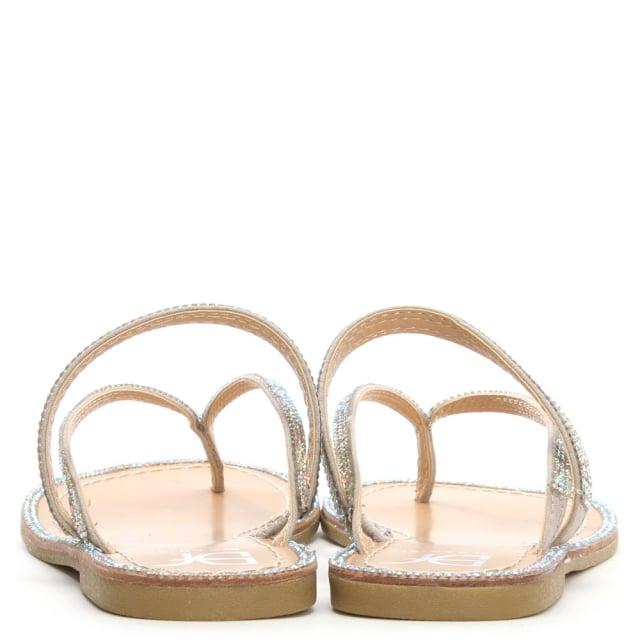 4f4351954e37 DF By Daniel Delevingne Silver Diamante Toe Post Sandal