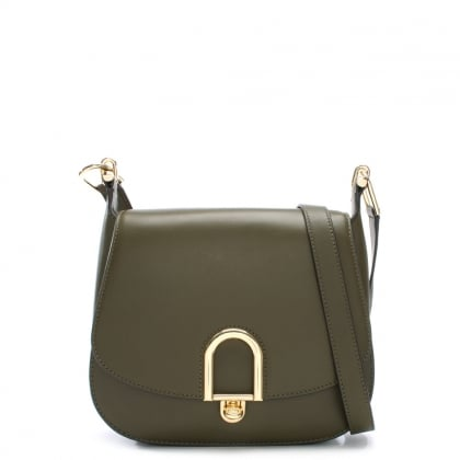 Delfina Olive Leather Saddle Bag