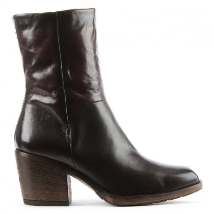 Deliah Brown Leather Stacked Heel Ankle Boot