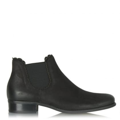 Delicate Black Leather Scallop Edge Chelsea Boot