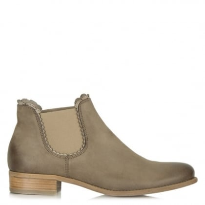 Delicate Taupe Leather Scallop Edge Chelsea Boot