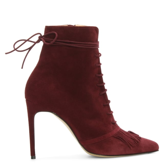 Demi Burgundy Suede Fringed Ankle Boot
