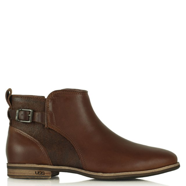 Demi Chestnut Leather Ankle Boot