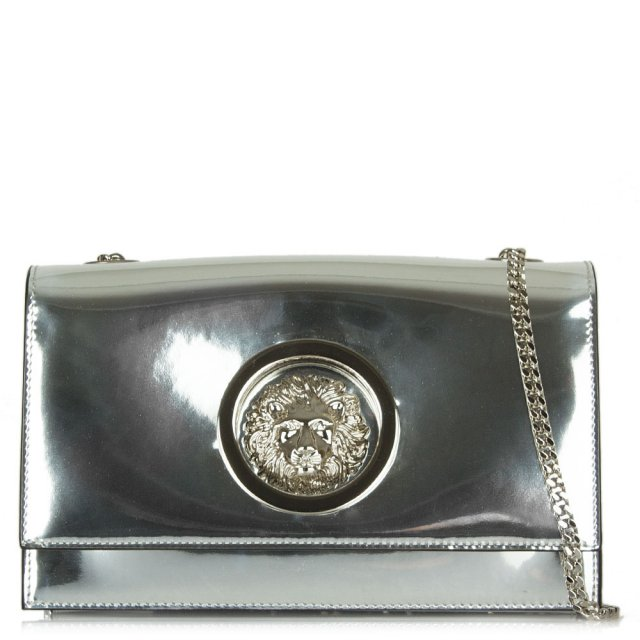 476627d089 Versus Versace Demi Silver Leather Flap Over Cross-Body Bag