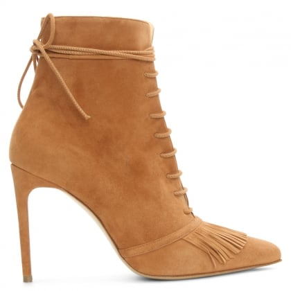 Demi Tan Suede Fringed Ankle Boot