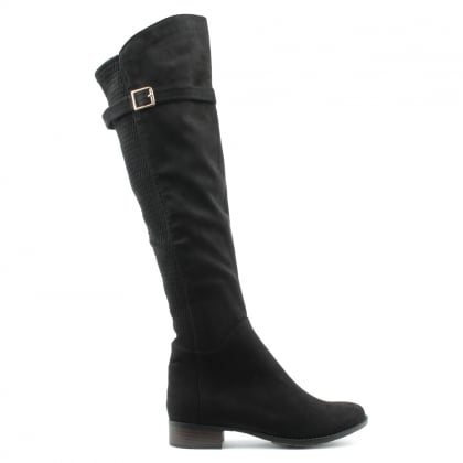 Denali Black Faux Suede Stretch Lattice Over Knee Boot