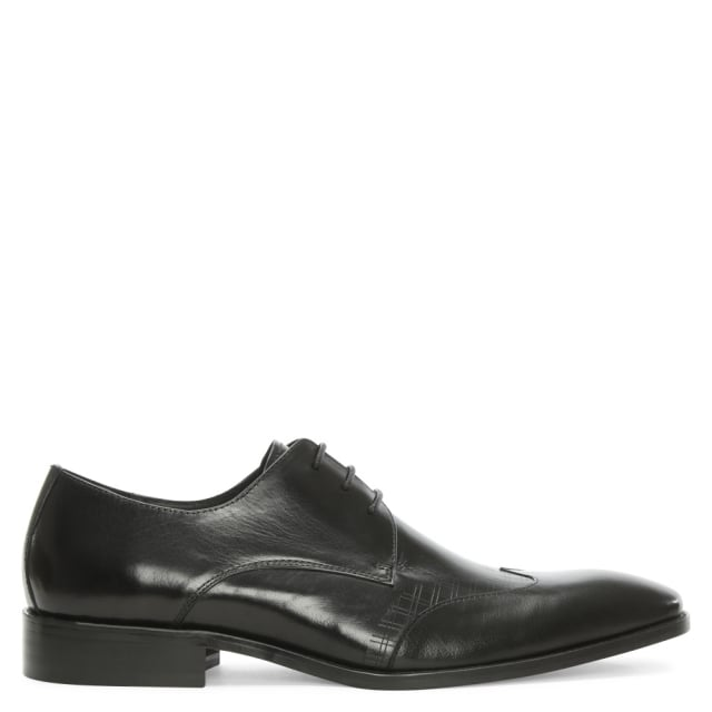 Denham Black Leather Laser Line Lace Up Shoe