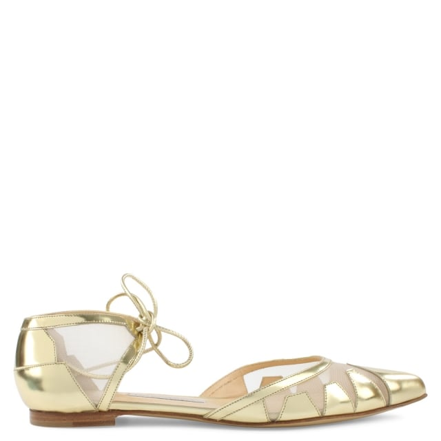 Denni Gold Leather Mesh Pointed Toe Flat