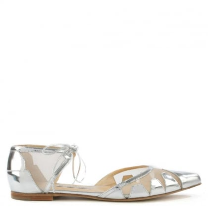 Denni Silver Leather Mesh Pointed Toe Flat