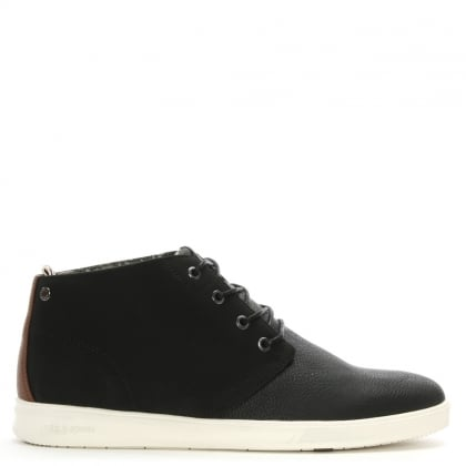 Denton Black Fabric Upper High Top Trainers