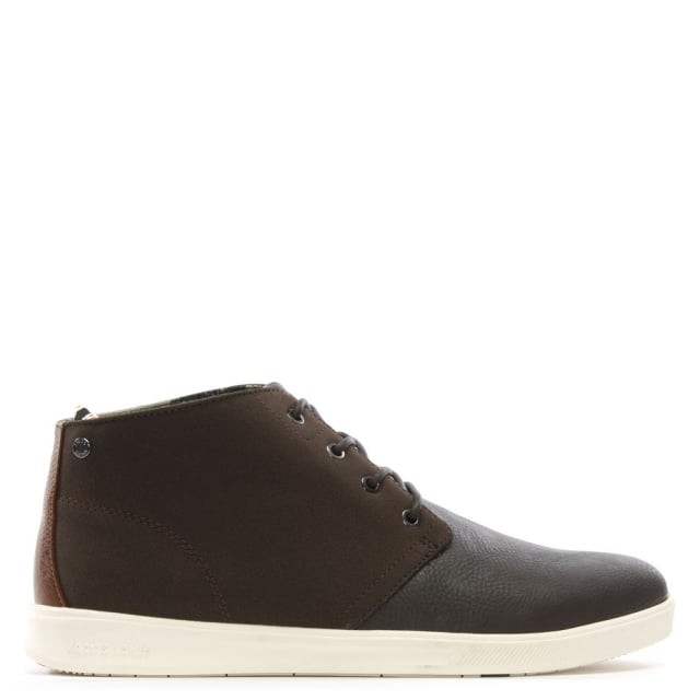 Denton Brown Fabric Upper High Top Trainers