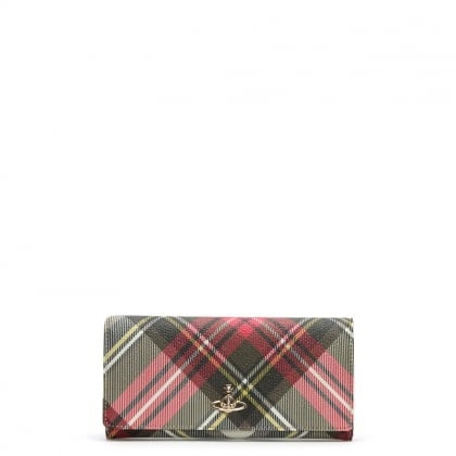 Derby Red Multicoloured Tartan Credit Card Wallet