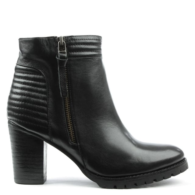Derwentwater Black Leather High Stacked Ankle Boot