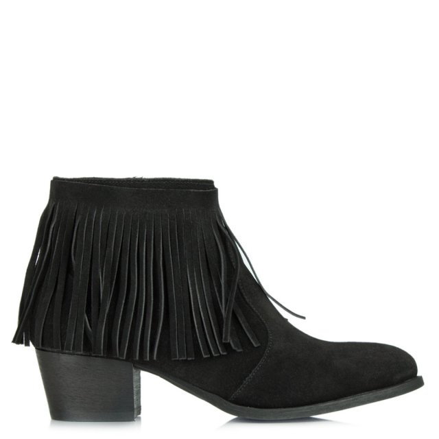 Desirable Black Suede Detachable Fringed Ankle Boot