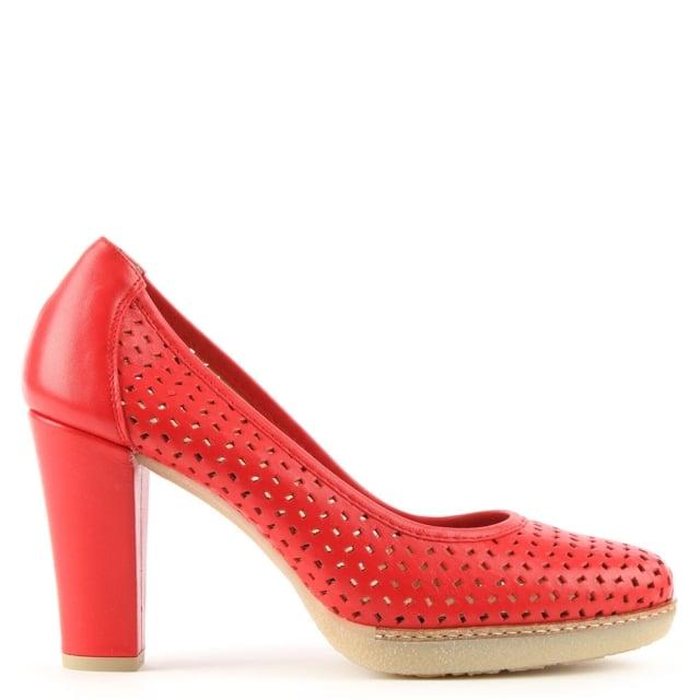 dessie red leather laser cut court shoe